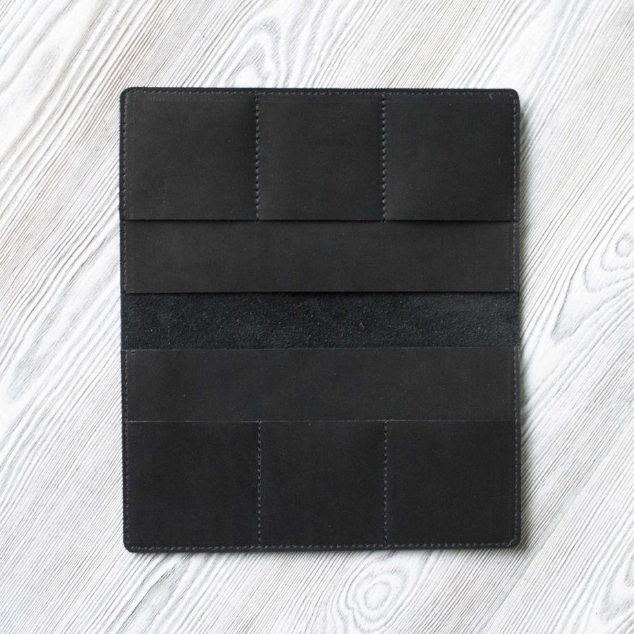 """Коричневое мужское портмоне, из натуральной кожи """"Черный краст"""""""