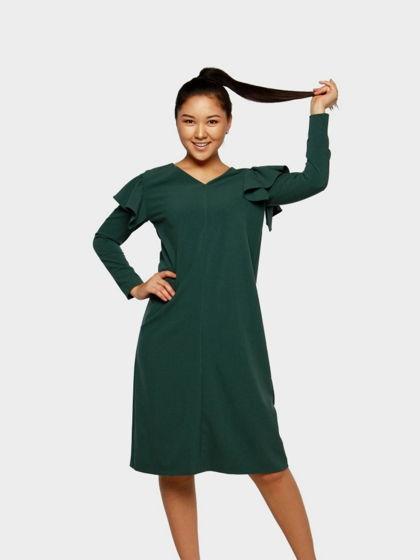 """Зеленое асимметричное платье """"Green Tea""""из шерсти с надписью """"Люблю"""""""