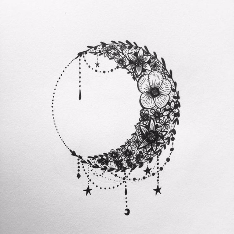 Sun and Moon Floral Tattoo
