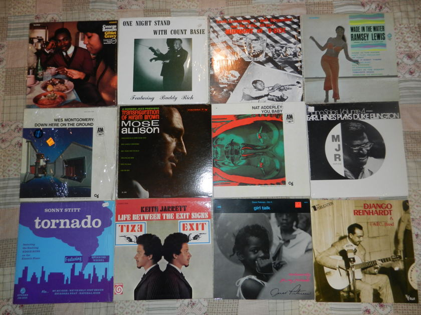 13 LPs Jazz LP Lot Louis Armstrong Montgomery Oscar Peterson Ramsey Lewis Sonny Stitt Allison Mose - Earl Hines Nat Adderley Count Basie Jarrett RARE [8/10 and higher]
