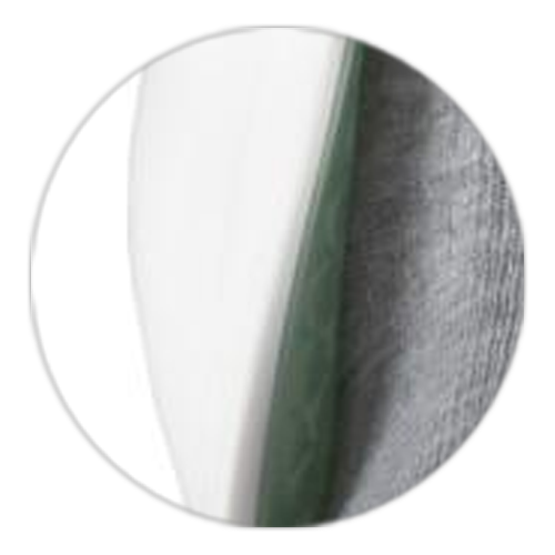 close up on soft brace's flexible edge and hard outer shell