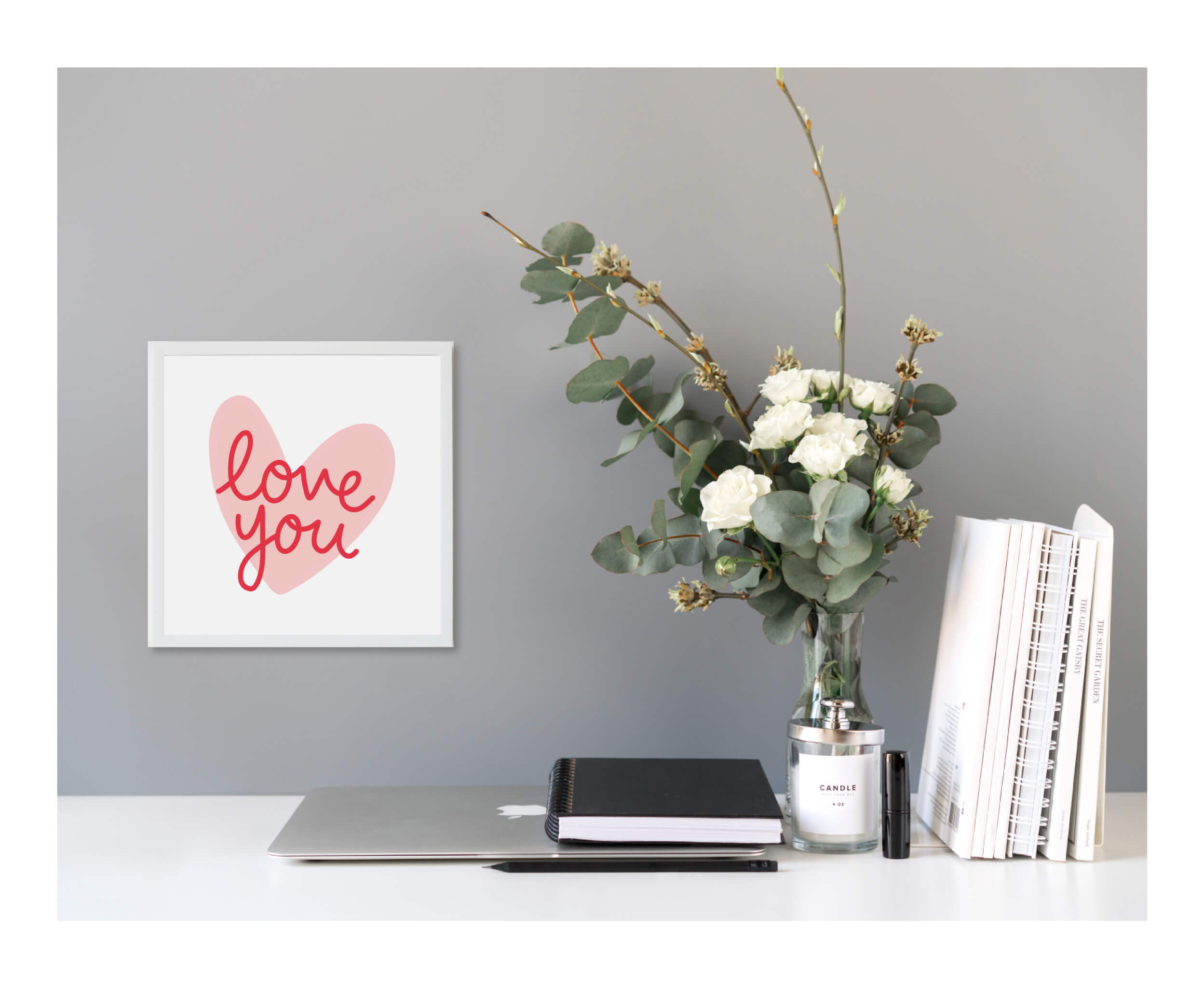 Valentine's Decor hanging in a room