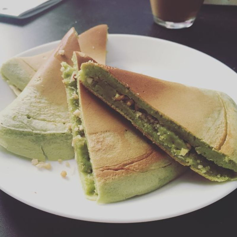 My Apam Balik with pandan leave extract. It's beautiful, thanks for the recipe, Grace