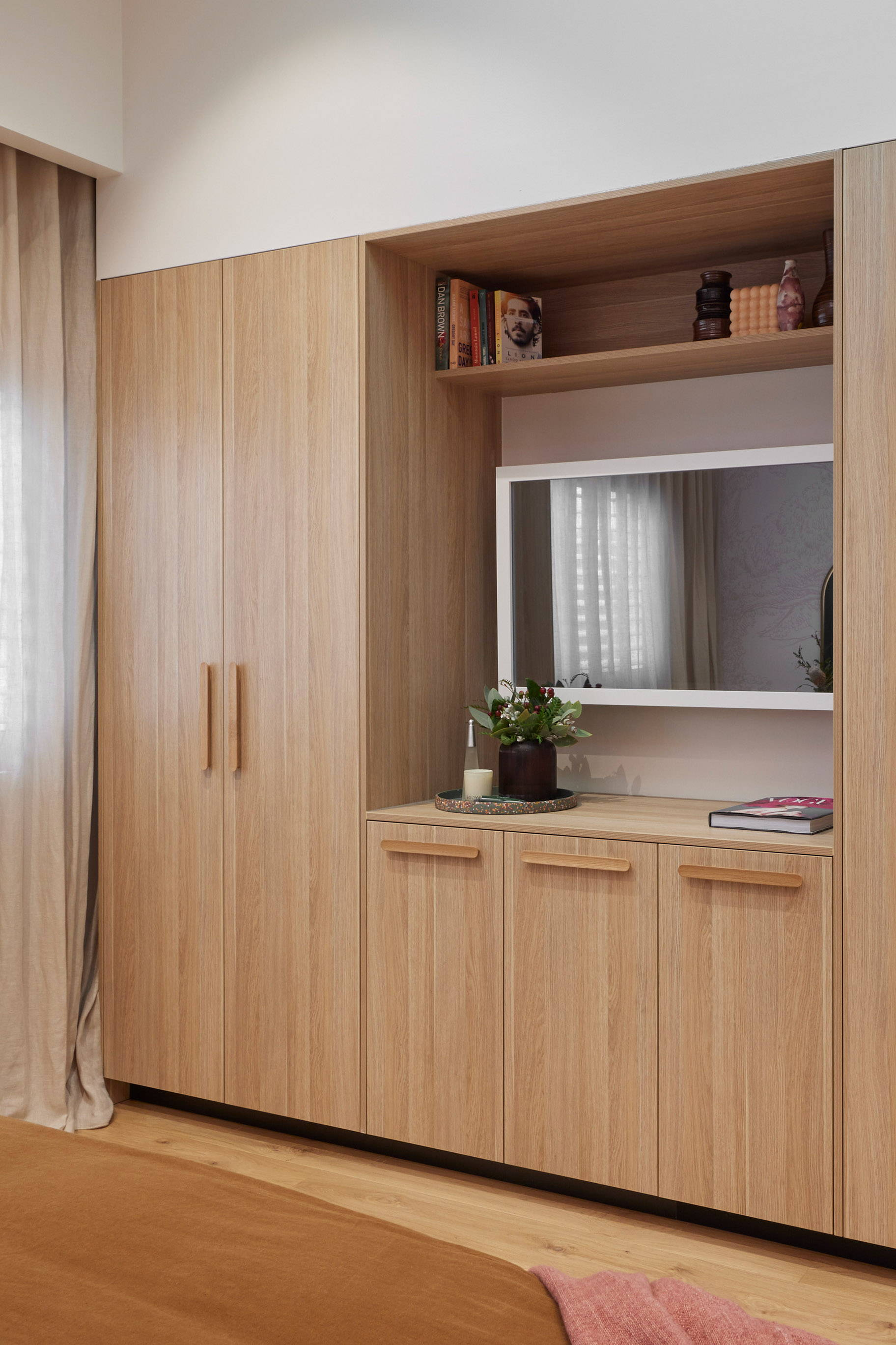 TV-Mirror Modern Matte White Frame by FRAMING TO A T - A square white frame on a TV-Mirror inset into oak cabinetry