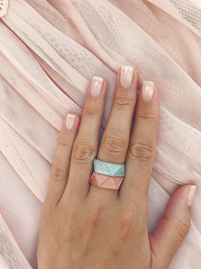 "Кольцо ""Hexagon"", цвет серебро и розовое золото"