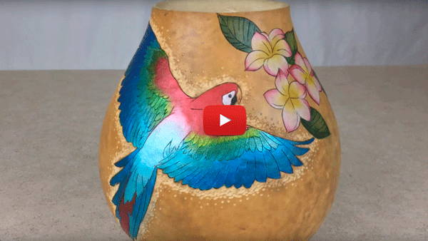 Watch Video #2 -Creating a Colorful Parrot Using GourdMaster Metallic Inks