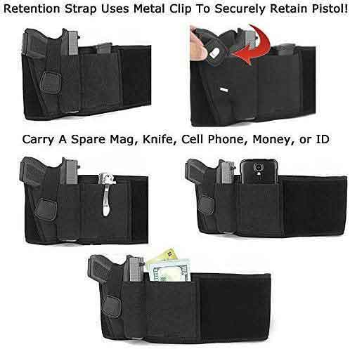 belly band holster using case, retention strap uses metal clip to securely retain piston, carry a spare mag, knife, cell phone, money or ID