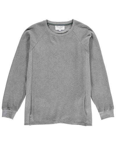 Front of grey marl organic cotton sweatshirt for men with side pockets from sustainable menswear brand Lyme Terrace