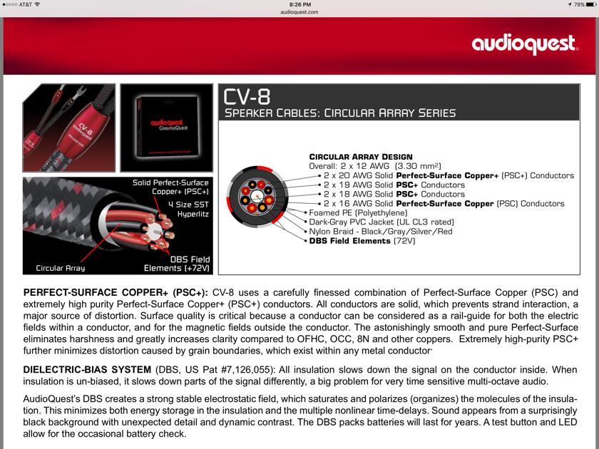 Audioquest CV-8 CV8 20' pair FULL RANGE spades with 36V DBS