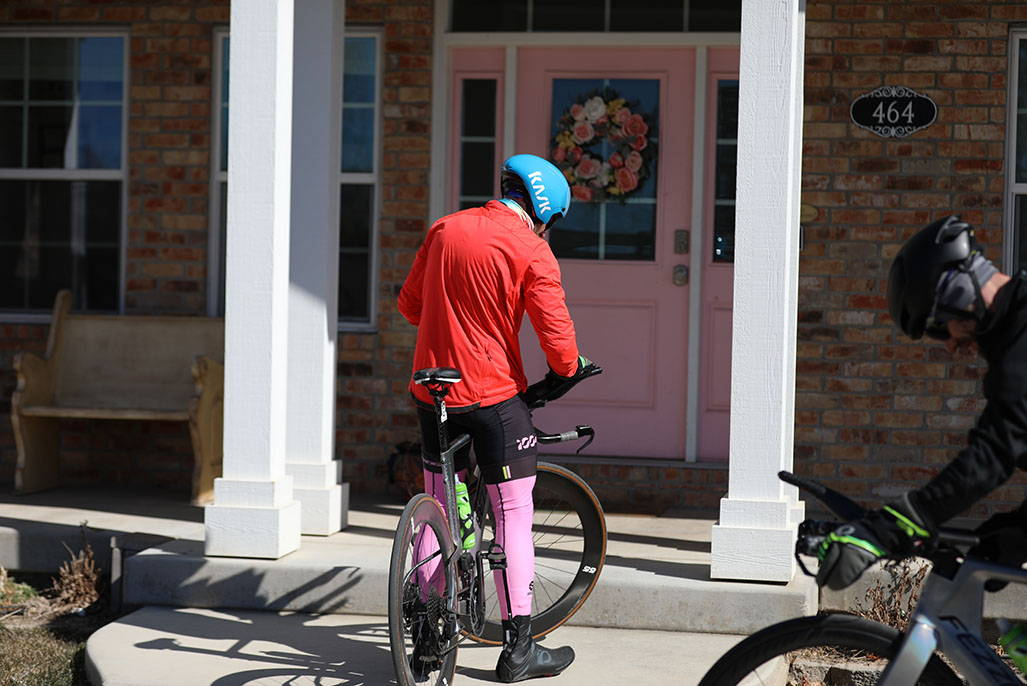 James lawrence at front door on bike