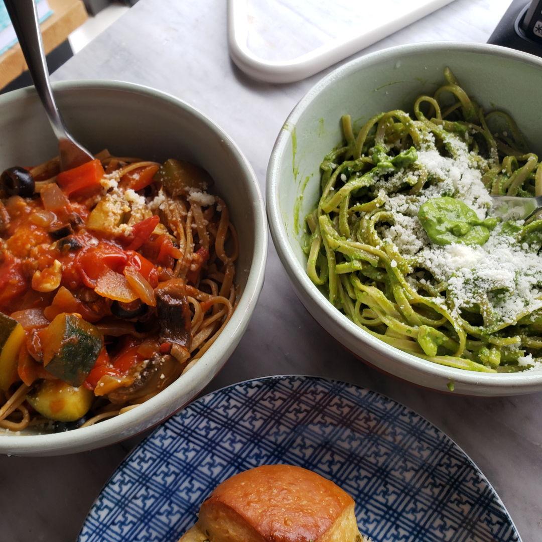 Veggie pasta and avocado pesto pasta