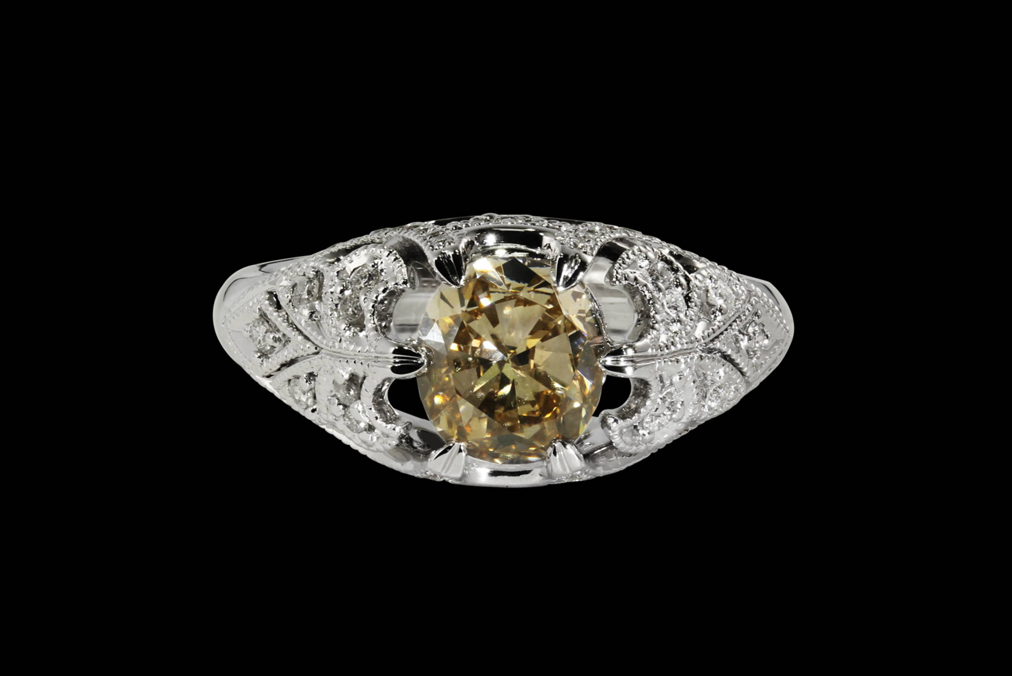 Champagne Diamond Victorian Ring front view