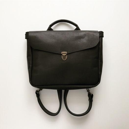Кожаный рюкзак-портфель Black XS