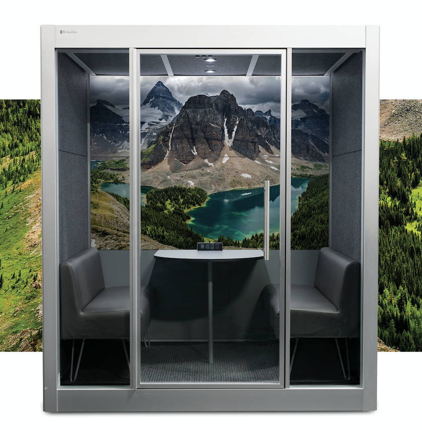 Meeting Pod by SnapCab with nature landscape panel design