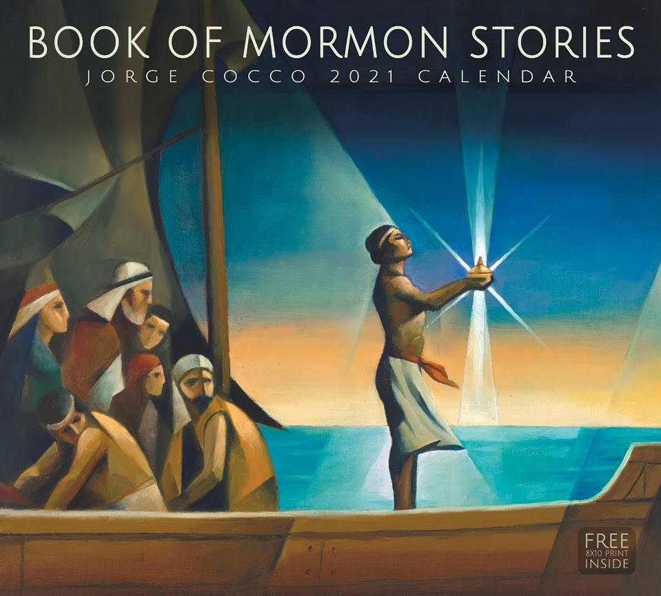 Jorge Cocco's 2021 calendar cover. Painting of Nephi holding Liahona.