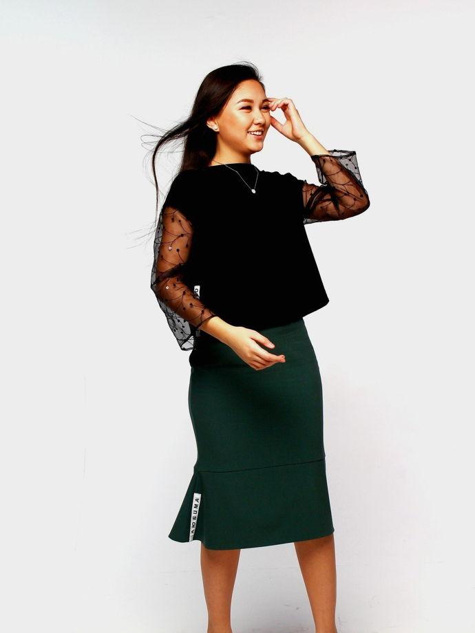 """Зеленая шерстяная юбка """"Mermaid"""" с воланами и надписью сбоку """"Любима"""""""