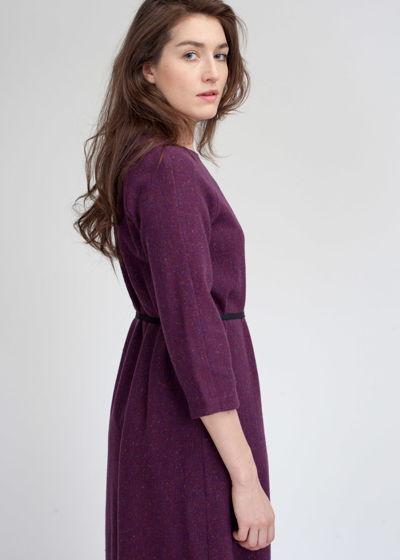 Сливовое платье миди из шерсти