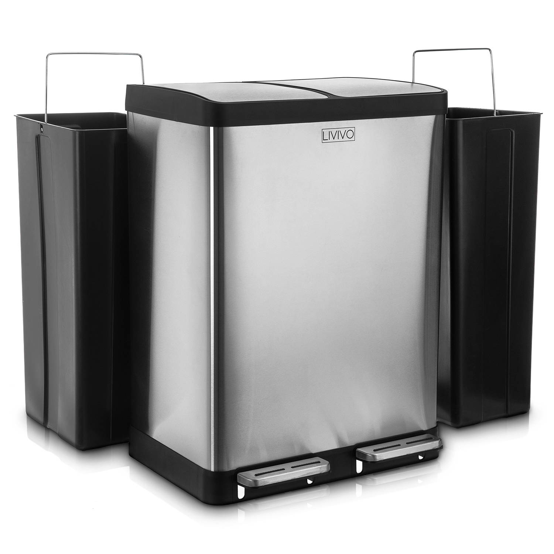 LIVIVO | Kitchen | 2 Section Recycling Pedal Bin 60L ...