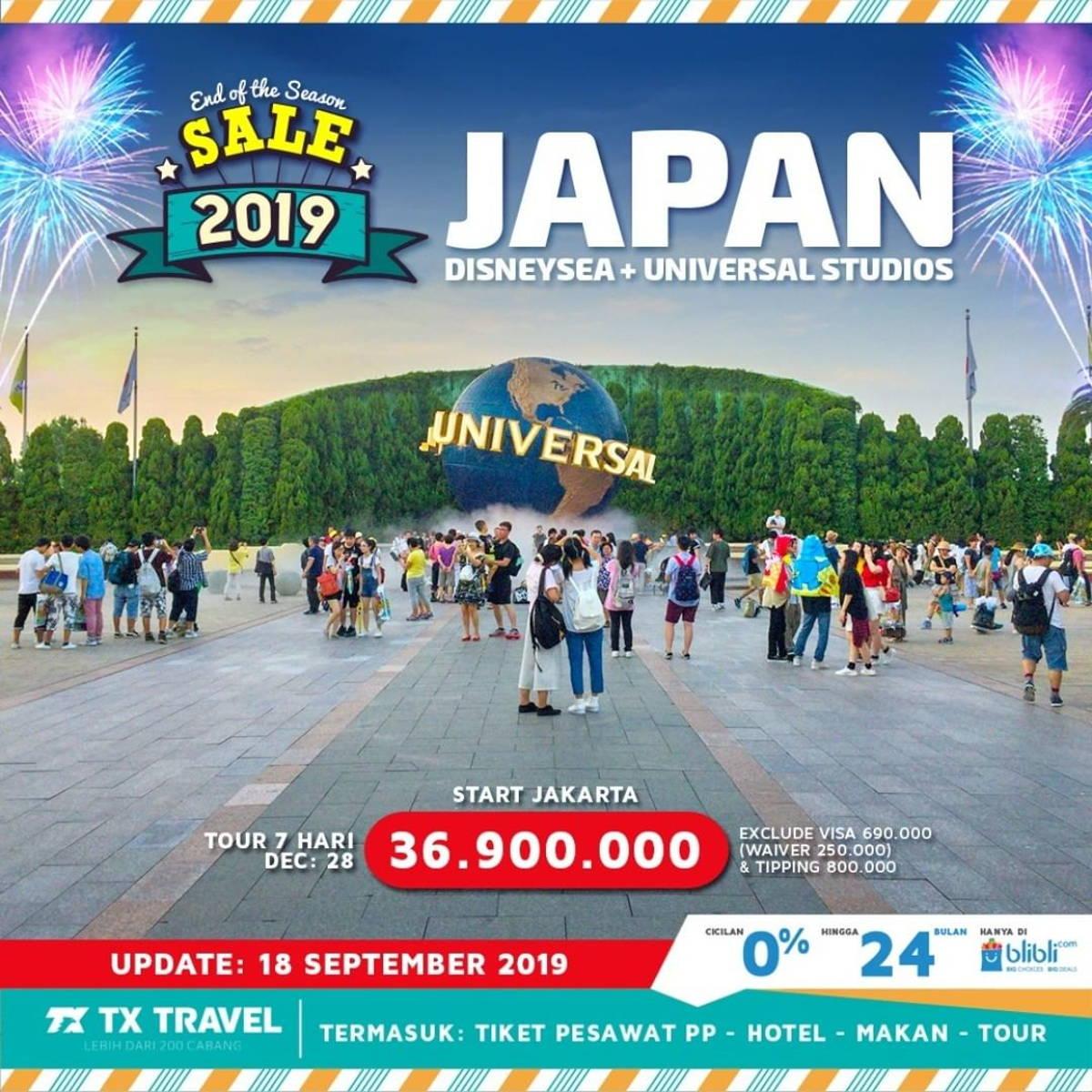 Katalog Promo: TX TRAVEL: Promo Tour Jepang 2019 JAPAN Disneysea + Universal Studios Rp. 36.900.000 - 1