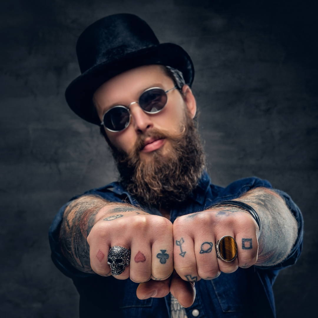bearded man with top hate