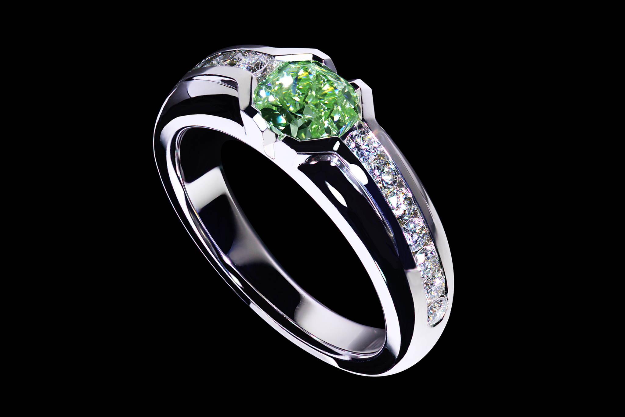 Rare Investment Grade Vivid Green Diamond Ring