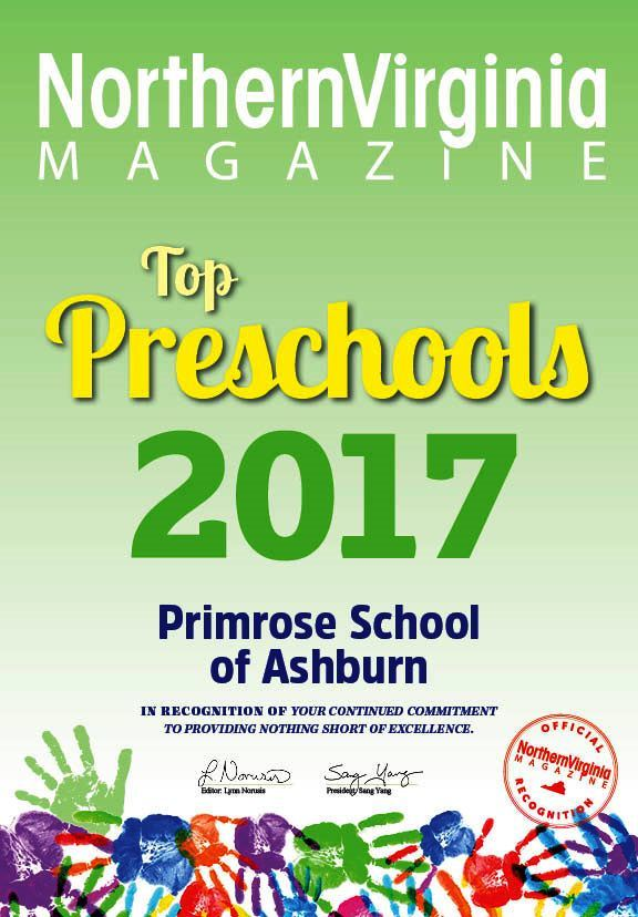 Top preschool poster from Virginia magazine featuring Primrose school of Ashburn's name