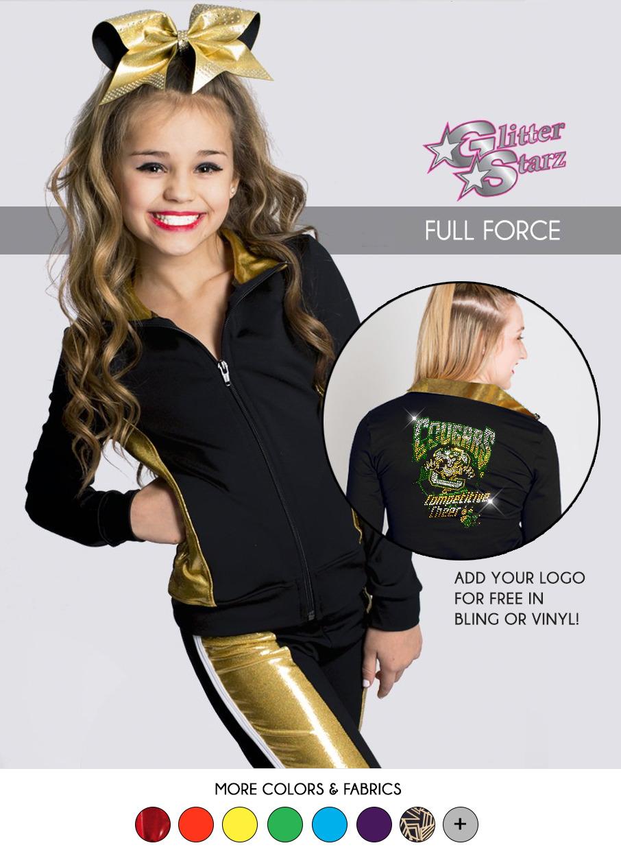 glitterstarz full force warmup gold metallic bling logo cheer dance