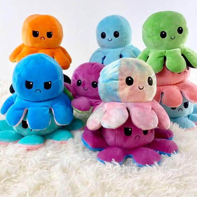 mood plush, reversible octopus, reversible octopus mini, moody octopus plush,