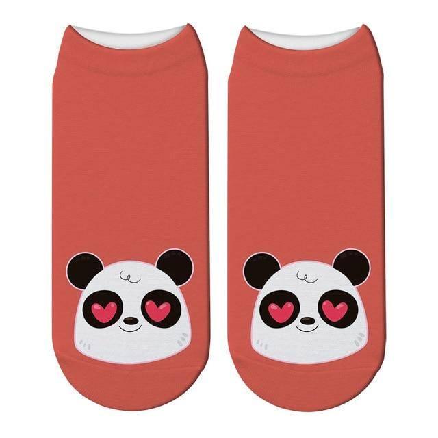 socquettes rouges panda coeur