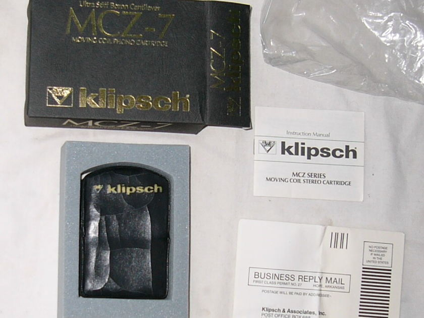 KLIPSCH MCZ-7 Moving Coil phono cartridge NEW in box --LEGENDARY COLLECTOR's ITEM