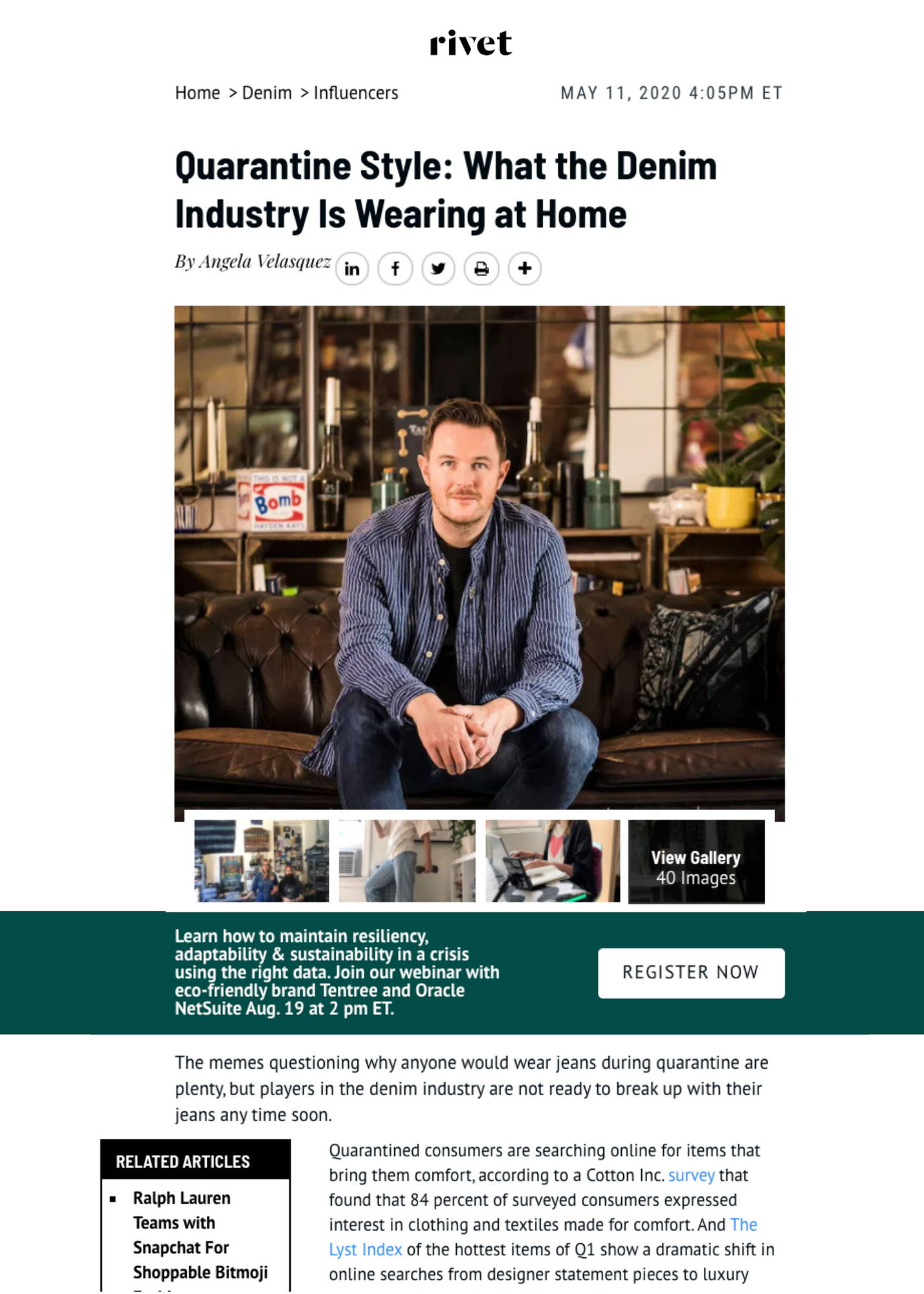 Quarantine Style: What the Denim Industry Is Wearing at Home Article
