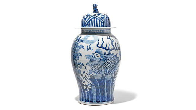 Blue & White Porcelain Temple Jar - Qilin Design | Indigo Antiques