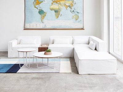 Gus Mix Modular Sectional 5 Piece, featured in white denim slipcovers