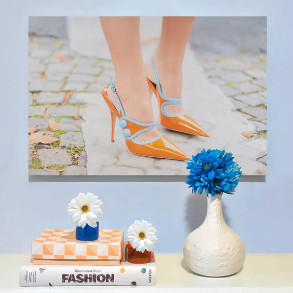 Recoveted Fashion Wall Art - Orange Heels