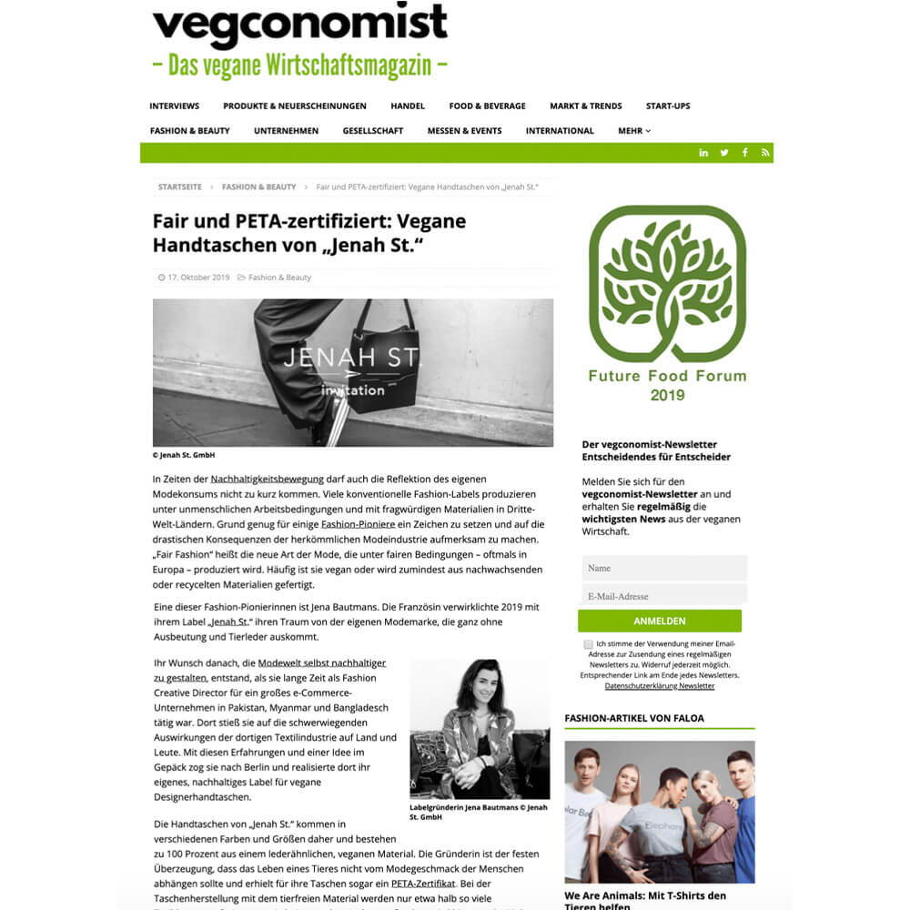 Jenah St. is mentioned in an interview of the PETA team by J'N'C about the Vegan Fashion awards.