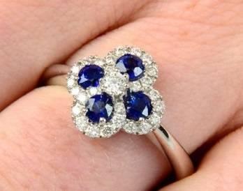 Bespoke diamond & sapphire engagement  ring from Poibjoy Diamonds