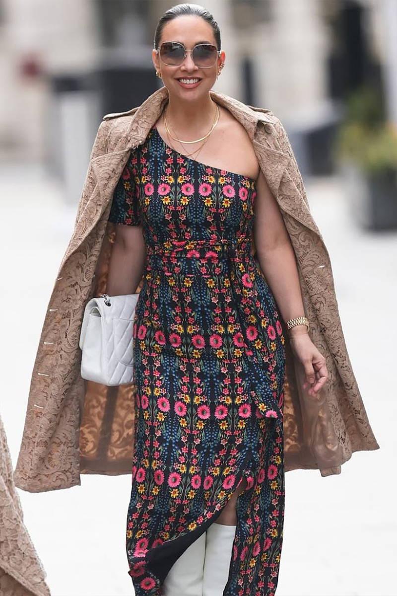 Radio Host and celebrity, Myleene Klass, wears YOLKE's the Wildflowers Sienna Dress on her way to Smooth Radio