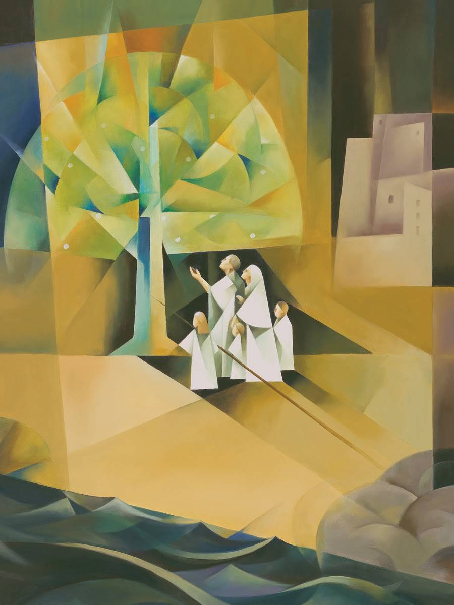Modern lds painting of family approaching the Tree of Life.