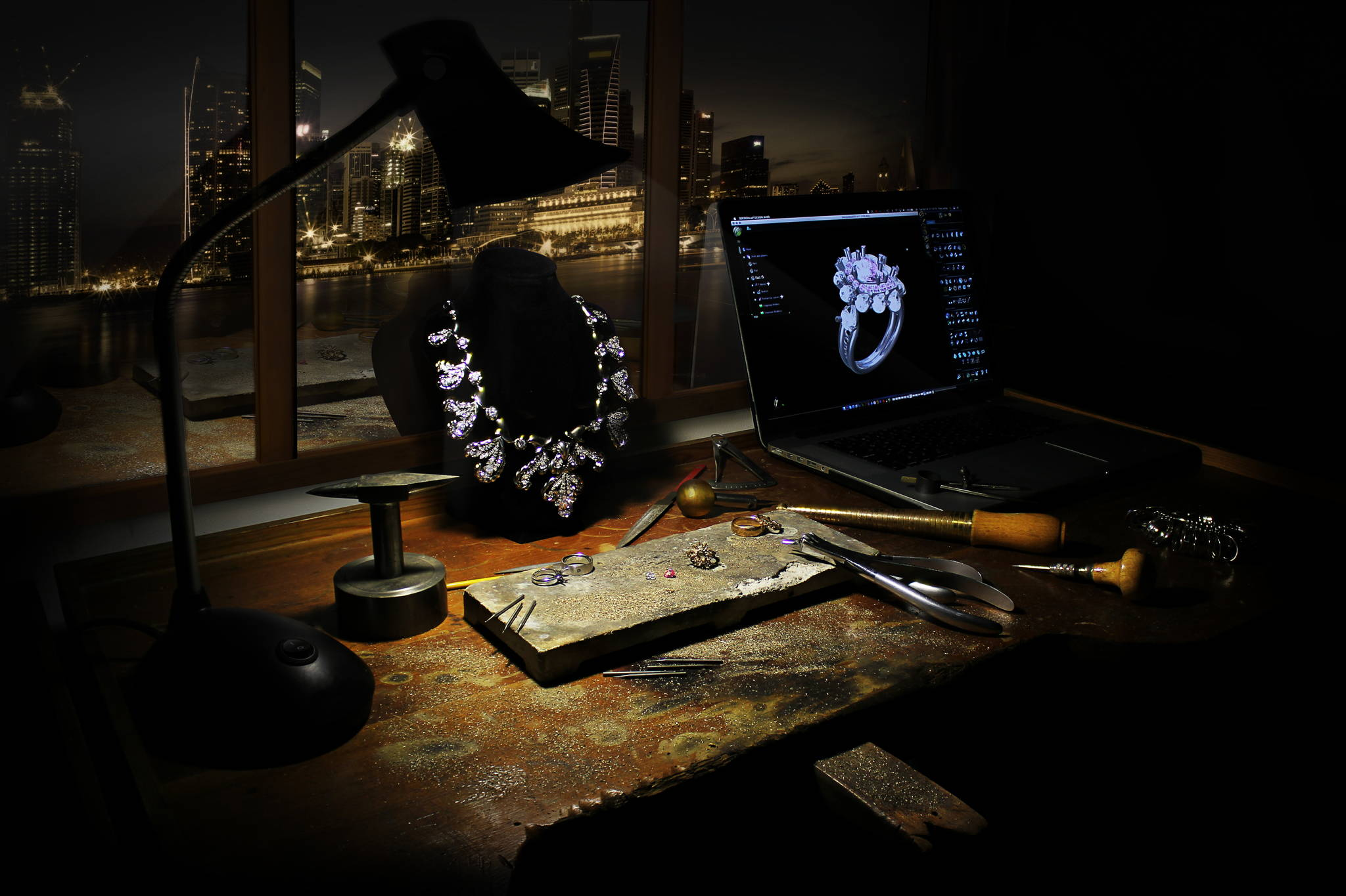 Jewelry master workplace with a computer