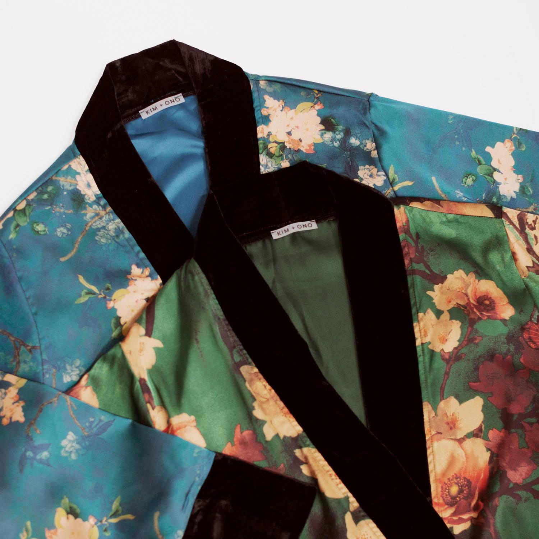 Charmeuse Kimono Wraps in Haruka Teal & Azumi Green