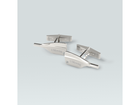 14k White Gold USRowing Cuff Links