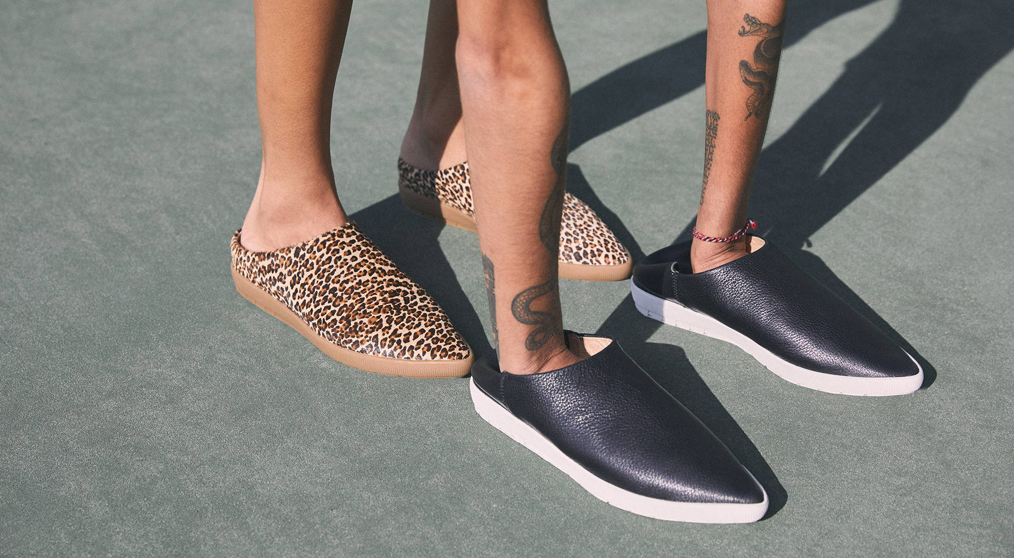 leopard and black shoes