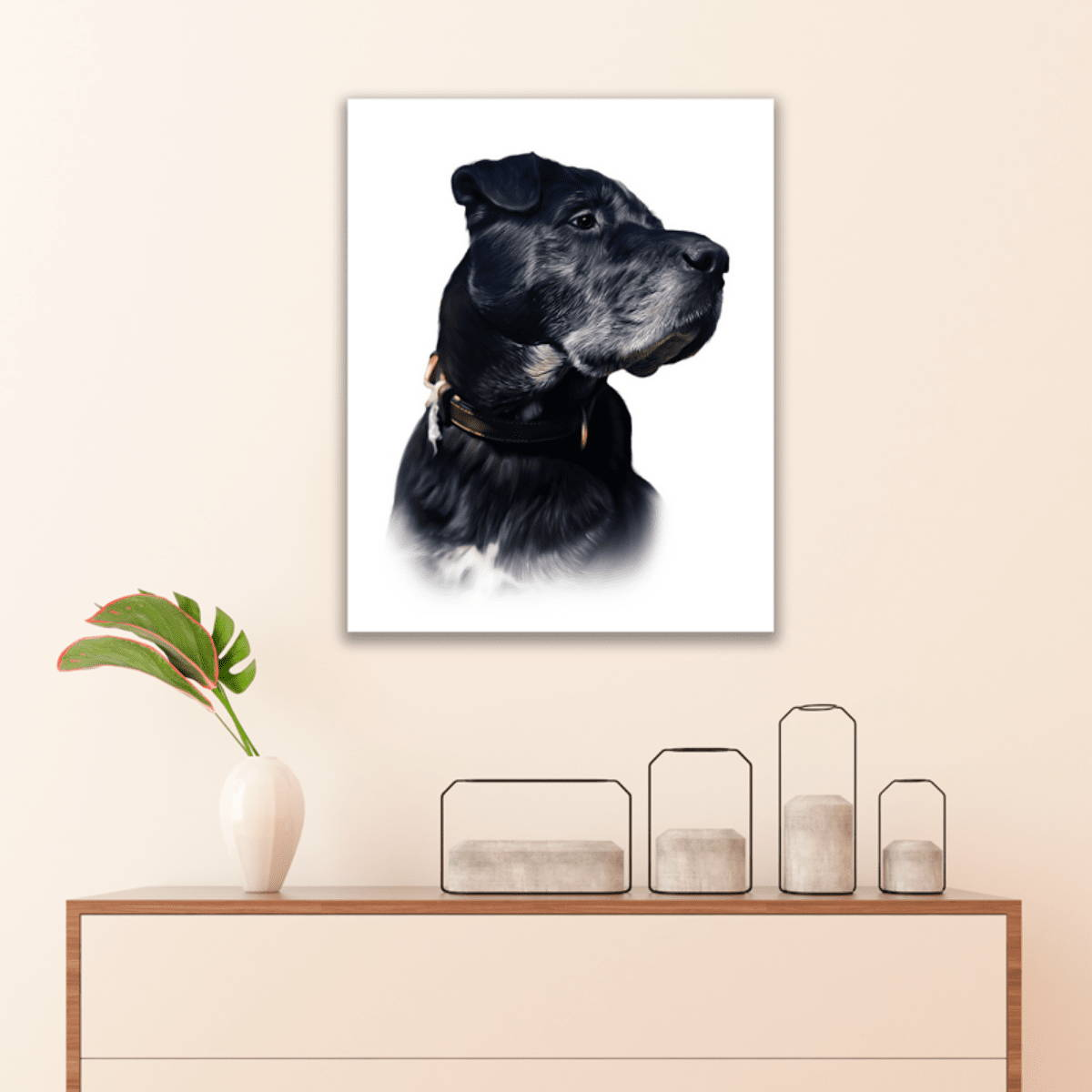 Picture frame of dog drawing painting