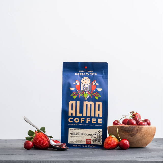 A bag of Alma's Natural Process Coffee Roast