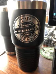 Custom engraved logo coffee mugs and tumblers happy customer testimonial for promotional products from smokies restaurant owner