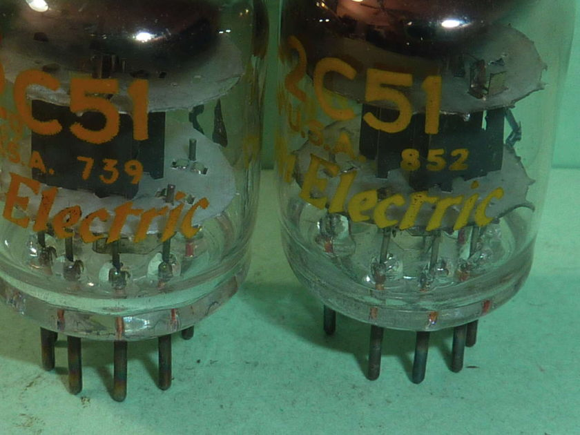 Western Electric 2C51 JW-2C51 396A 5670  Tubes, Matched Pair, NOS Testing