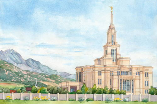 Painting of the Payson Temple beneath a clear sky.