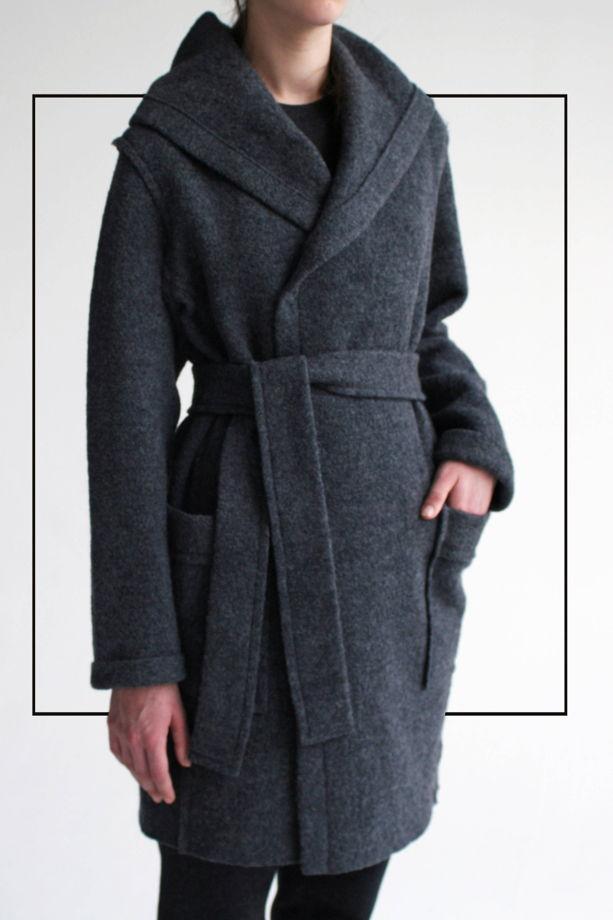 Мягкое серое пальто с Капюшоном #7