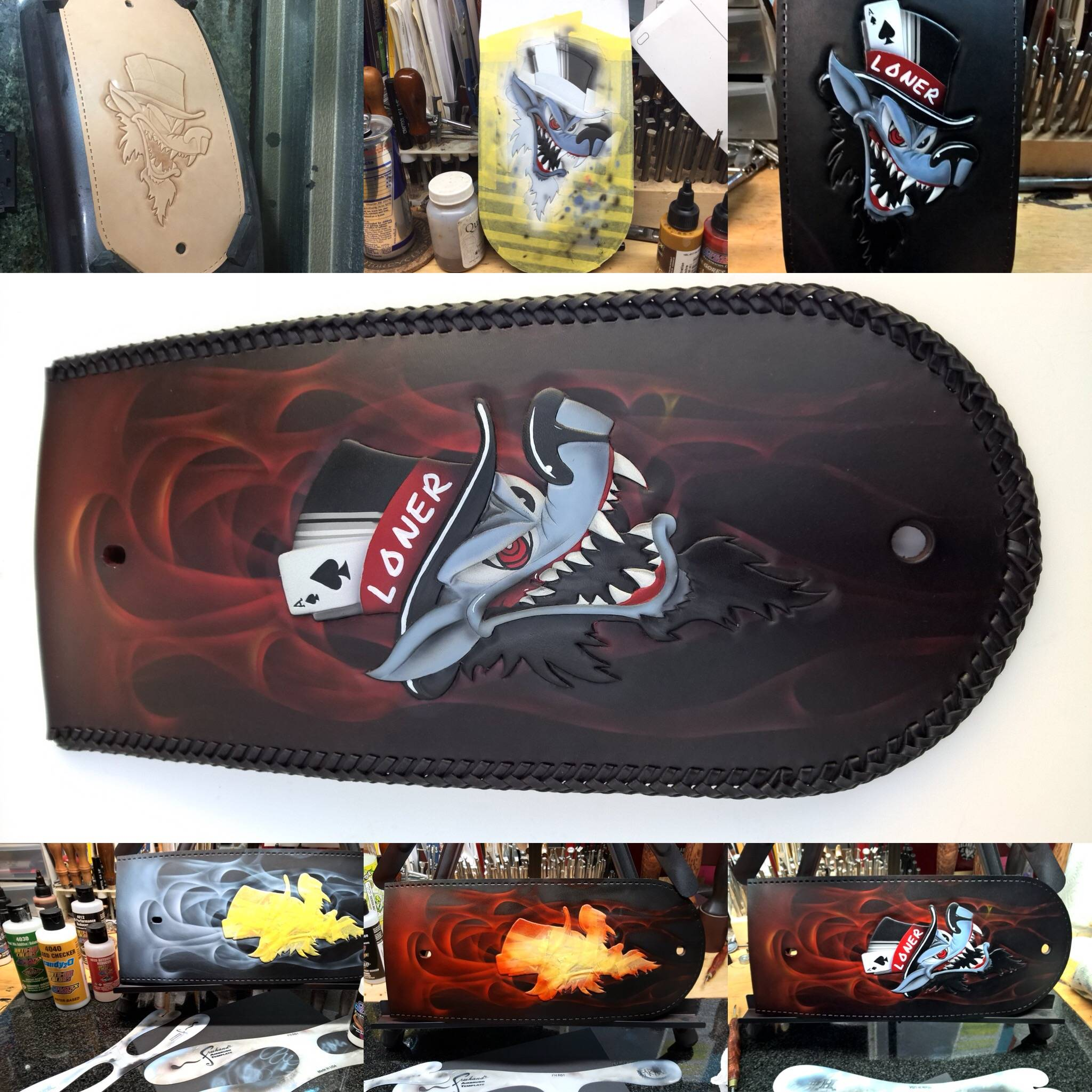 airbrushed lone wolf custom fender bib