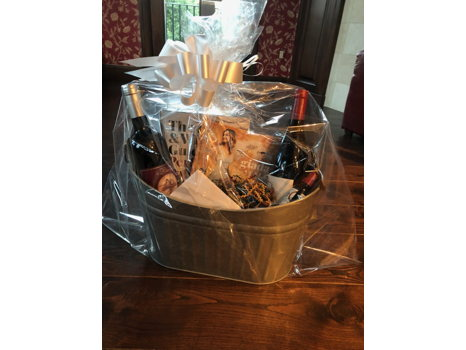 Galvanized Tub with Wines, Books, Gift Certificate and Stain Remover